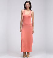 dress,maxi dress,coral,sleeves dress,long dress,fashion,coral dress,spring dress