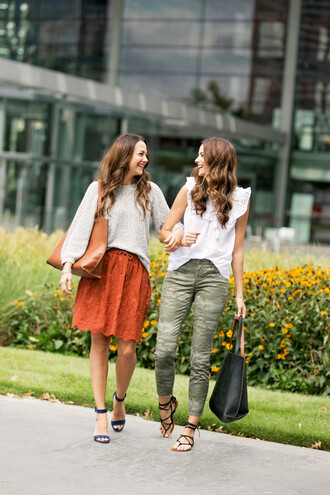 skirt floral embroidered skirt sweater tote bag sandals blouse blogger blogger style camouflage skinny jeans