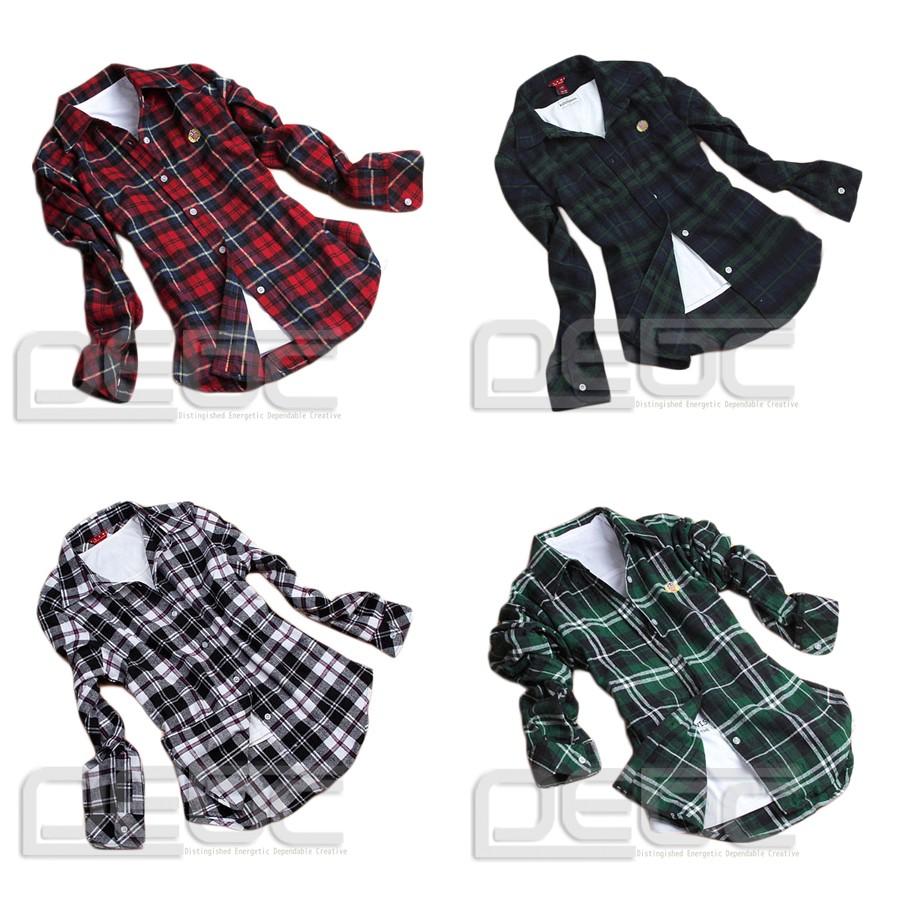 Women Button Down Lapel Casual Shirt Plaids Checks Flannel Cotton Tops Blouse   eBay