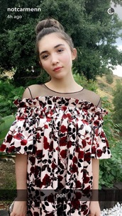 dress,rowan blanchard,girl meets world,disney,red,pattern,floral,flowers,floral dress,maxi dress,vintage dress,printed dress