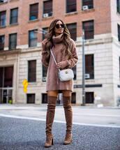 dress,sweater dress,turtleneck dress,over the knee,high heels boots,crossbody bag,sunglasses