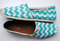 Womens custom hand painted toms white and teal chevron design