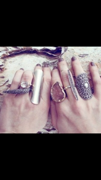 jewels rock boho stone metal rings