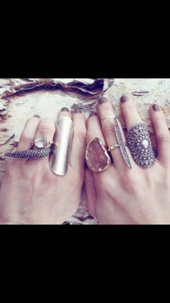 jewels rock boho stone metal ring