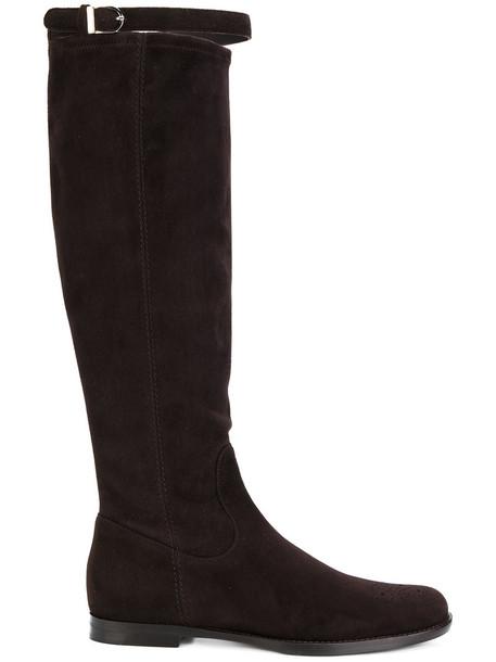 Unützer women boots leather suede brown shoes