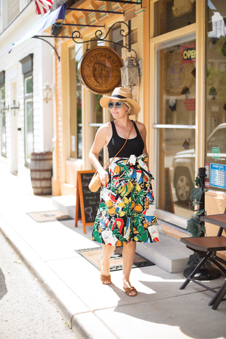 style archives - seersucker and saddles blogger tank top skirt bag hat shoes jewels summer outfits black tank top top crossbody bag slide shoes printed skirt midi skirt