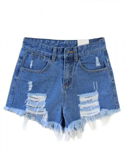 Dark Blue Loose High Waist Ripped Denim Shorts - Choies.com
