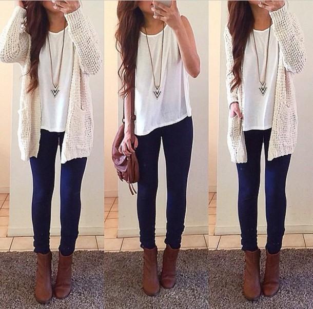cardigan necklace jeans shoes purse white shirt annabannana top shirt pants blue sweater bag