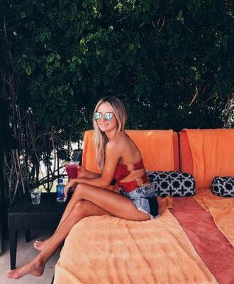 swimwear one piece swimsuit lauren bushnell instagram shorts coachella coachella outfit strapless