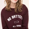Burgundy letter pattern long sleeve sweatshirt