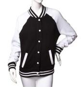 jacket,baseball jacket,bomber jacket,black,black and white,college,cool,hot,sexy,long sleeves