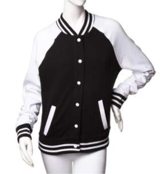 jacket baseball jacket bomber jacket black black and white college cool hot sexy long sleeves