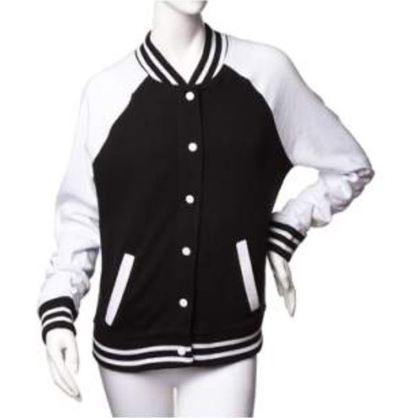 cd01072e jacket baseball jacket bomber jacket black black and white college cool hot  sexy long sleeves