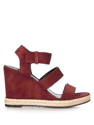 sandals wedge sandals suede burgundy shoes