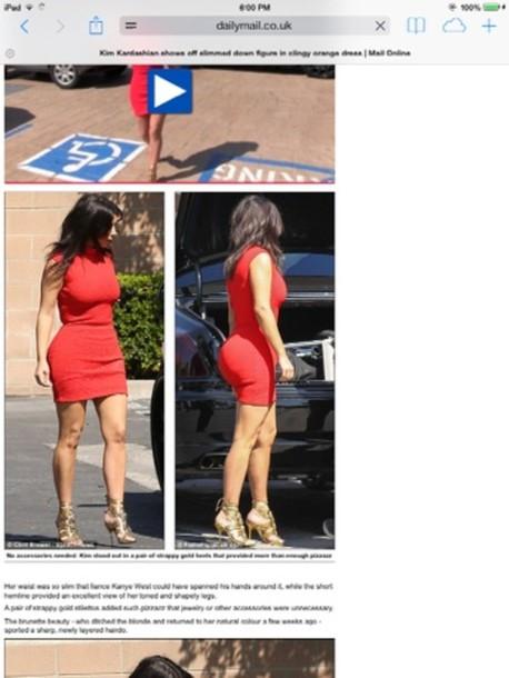 dress kim kardashian orange dress