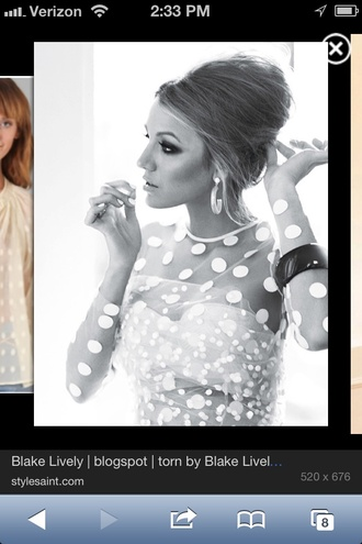 blouse blake lively white polka dot