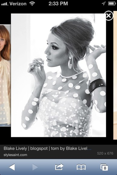 blake lively blouse white polka dot
