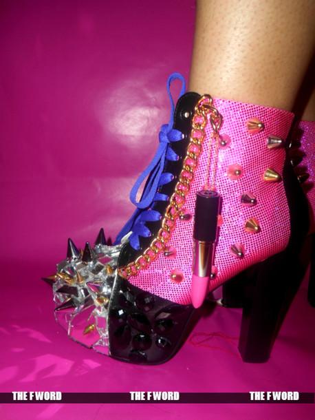 Shoes: pink jeffrey campbell lita gems spikes studz chain