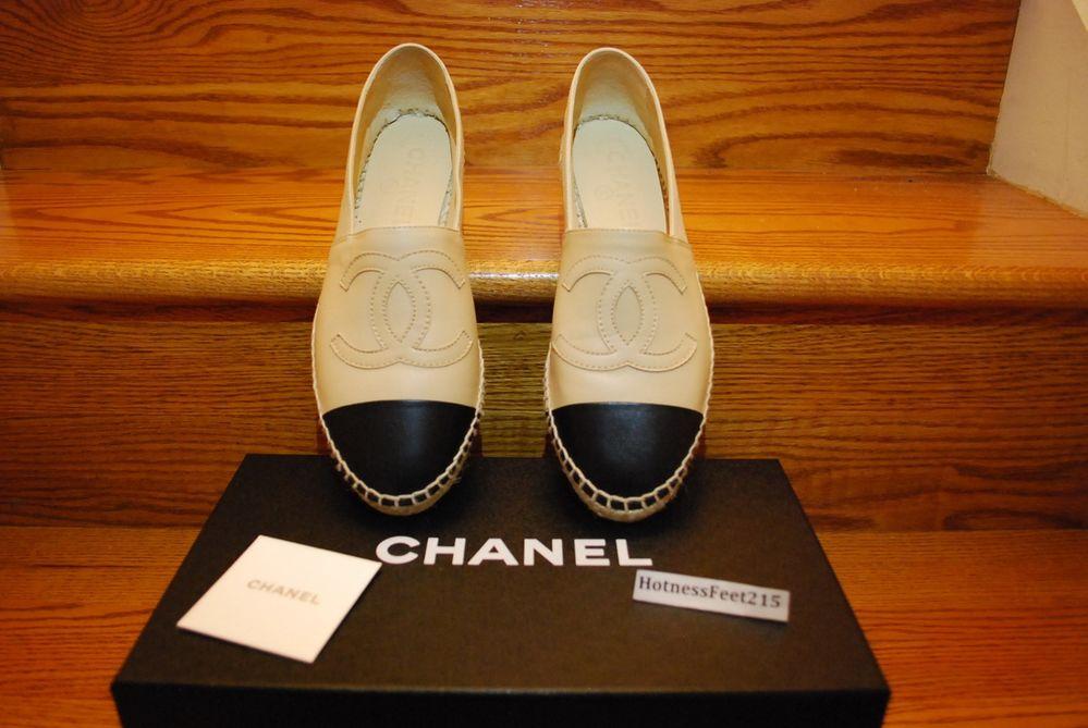 Chanel Leather Espadrilles CC Logo Beige Black Size 6 10 | eBay