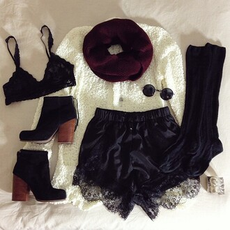 shorts short black lace dentelle high waisted shorts beautiful sexy scarf sunglasses socks sweater underwear shoes