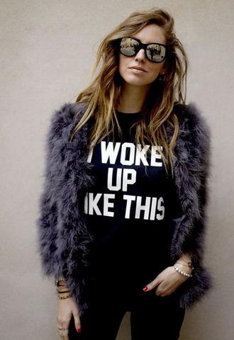 t-shirt woke up like this black white cool jacket