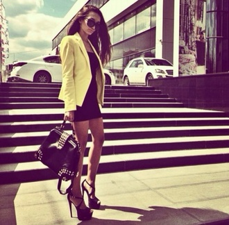 dress black little black dress high heels blazer neon fashion stylish summer outfits sunglasses bag summer beautiful shoes jacket