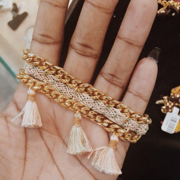 jewels friendship bracelet gold bracelet tassel
