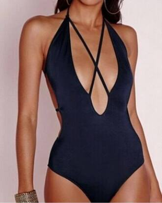 swimwear bodysuit black criss cross cut-out backless cut-out swimsuit one piece swimsuit open back
