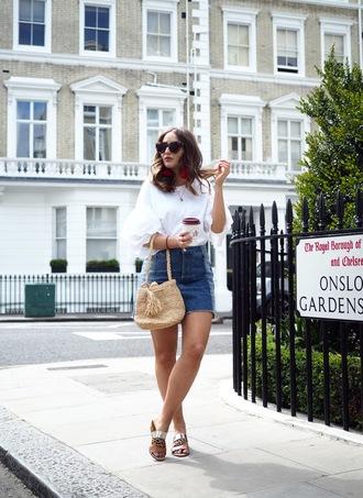 shoes tumblr ravel sandals skirt mini skirt denim denim skirt bag woven bag summer outfits summer top top white top bell sleeves sunglasses