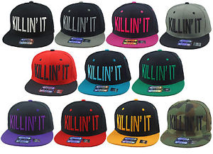 New vintage killin it flat bill snapback cap hip hop hat many colors available