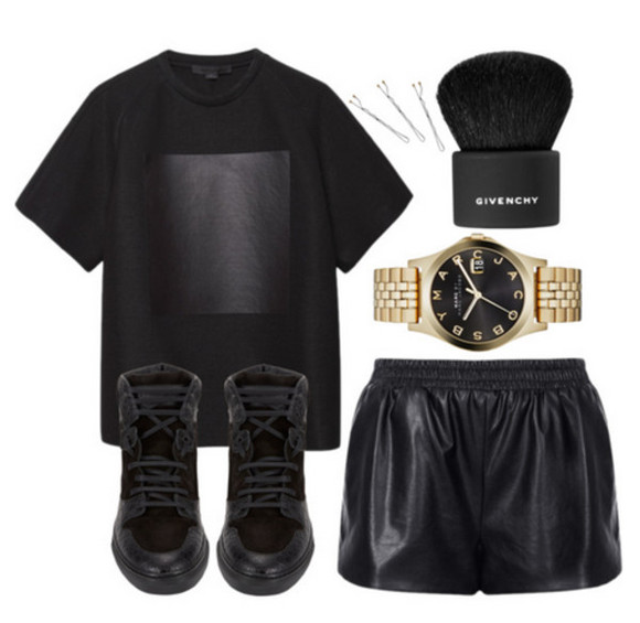 givenchy t-shirt leather shorts black shoes alexander wang marc by marc jacobs