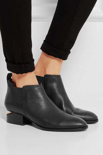 shoes alexander wang black leather boots cut out ankle boots ankle boots