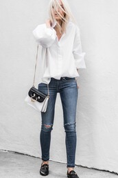 shirt,tumblr,white shirt,bag,black and white,denim,jeans,blue jeans,skinny jeans,ripped jeans,shoes,black shoes,loafers,spring outfits,blonde hair