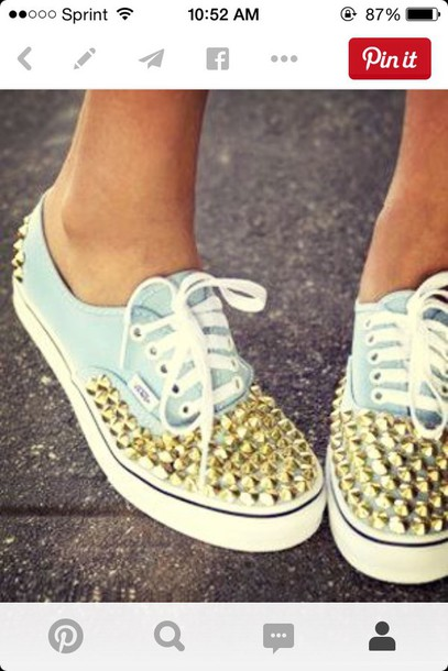 shoes mint blue blue vans gold spikes girl