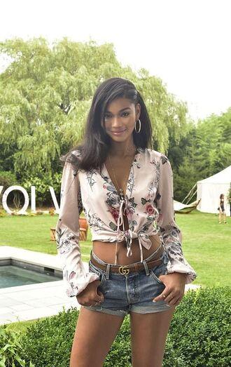 blouse top denim shorts shorts chanel iman model summer top summer outfits