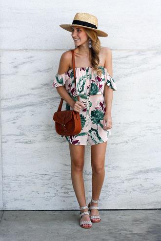 twenties girl style blogger romper shoes jewels bag hat top shoulder bag brown bag off the shoulder straw hat sandals summer outfits
