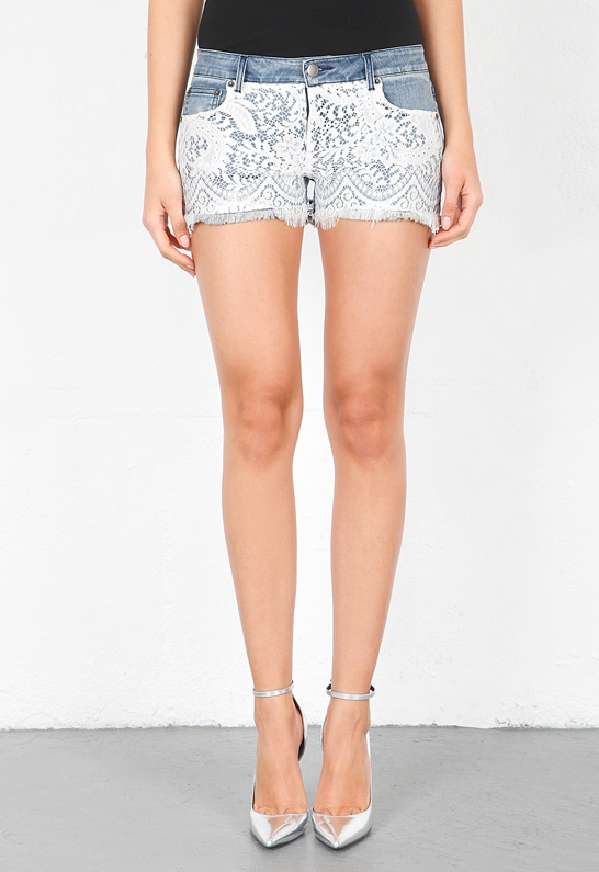 Haute Hippie Lace Over Denim Short Shorts | SINGER22.com
