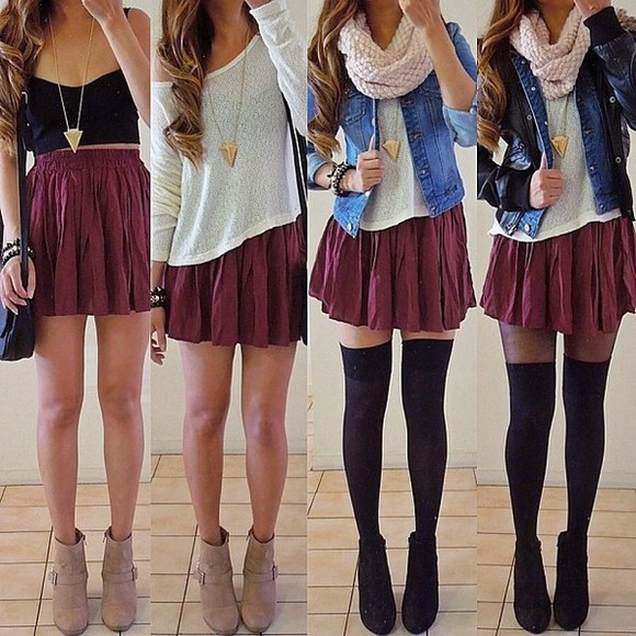 skirt scarf shoes red skirt combat boots dark red red sweater lace crochet loop necklace gold black jacket tights burgundy jewels burgundy skirt hipster skater
