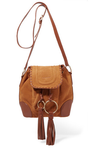 tan bag shoulder bag leather suede