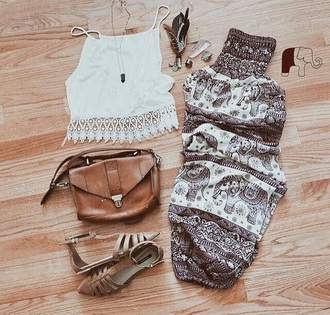 pants boho instagram print pants bohemian coachella elephants printed pants pattern tribal pattern patterned pants hippie boho gypsy gypsy feathers crochet top elephant print elephant clothes style top