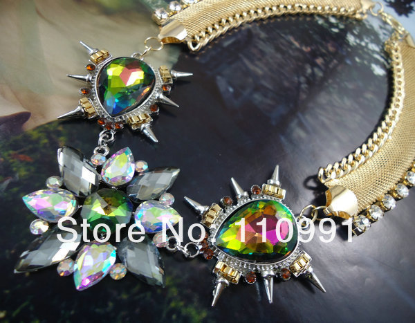 2013 new arrival multicolor crystal chain handmade choker bib spike chunky statement necklaces for women