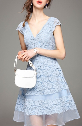 dress light blue fashion style summer lace dress elegant spring classy dezzal