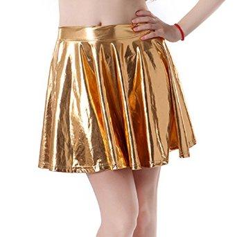 Amazon.com: hde women's shiny liquid metallic wet look flared pleated skater skirt: clothing