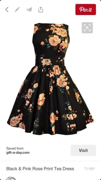 dress black dress flowers