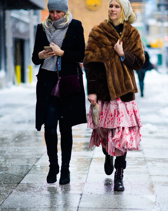 dress tumblr nyfw 2017 fashion week 2017 fashion week streetstyle maxi dress long dress pink dress floral floral dress ruffle ruffle dress boots black boots biker boots flat boots jacket brown jacket fur jacket coat black coat grey scarf scarf grey beanie beanie