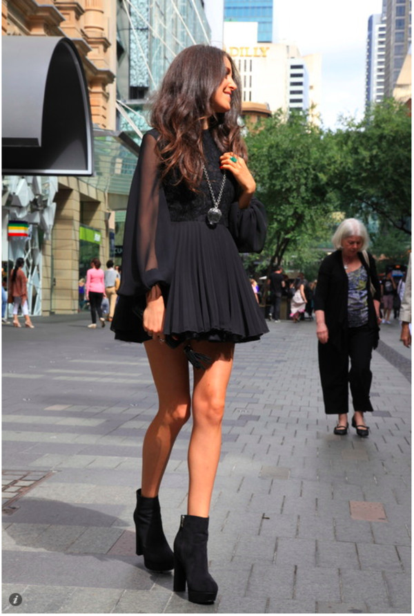shoes boots dress little black dress black black dress silver necklace black heeled boots blogger