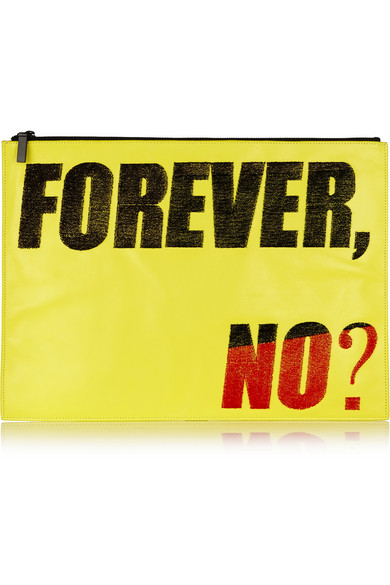 'forever, no?' oversized flocked leather clutch