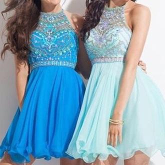 dress blue short dress bedazzled neck haltered neck sky blue baby blue dark blue light blue blue summer prom prom dress bracelets blue dress