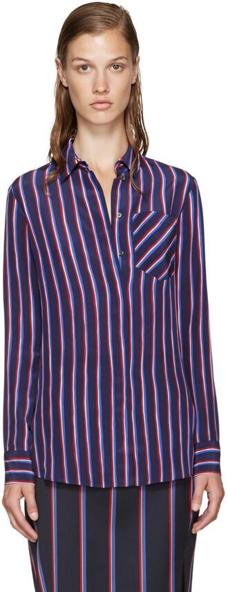 shirt navy silk top