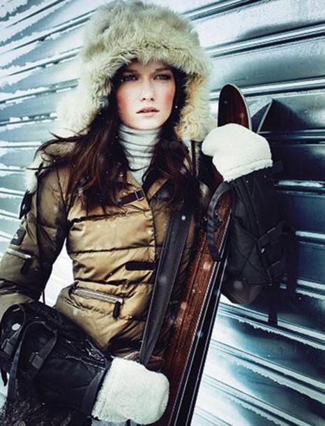 gloves fur ski mittens winter sports down jacket metallic fur hat